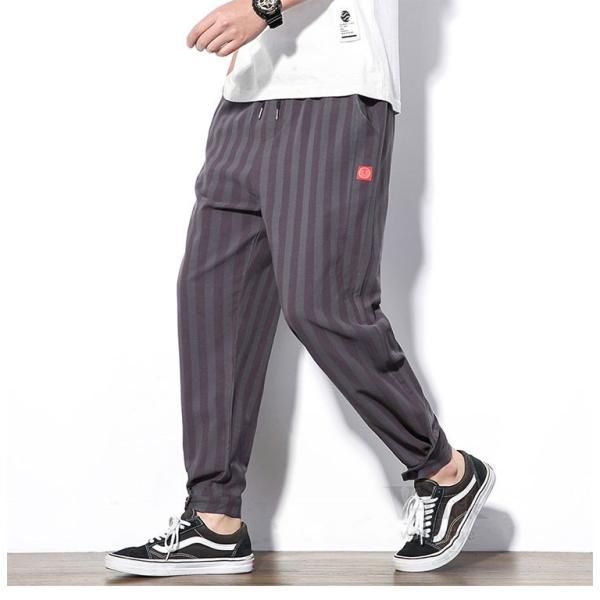 テーパードパンツ メンズ サルエルパンツ アンクルパンツ ズボン カジュアル リネンパンツ 綿麻 夏|otasukemann|08