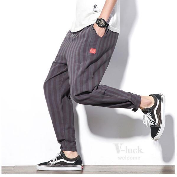 テーパードパンツ メンズ サルエルパンツ アンクルパンツ ズボン カジュアル リネンパンツ 綿麻 夏|otasukemann|10