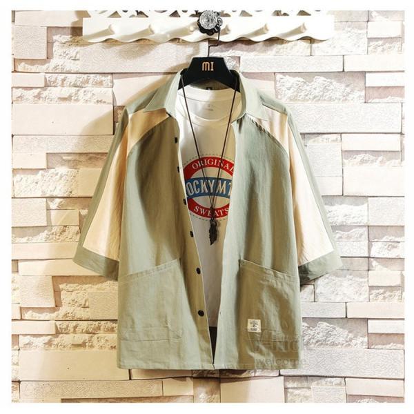 ワークシャツ 半袖 メンズ カジュアルシャツ 開襟シャツ 七分袖 トップス 半袖シャツ おしゃれ 40代 50代 夏 新作|otasukemann|06