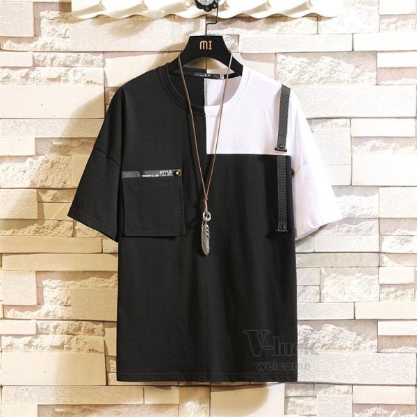Tシャツ メンズ 半袖 トップス 切り替え カットソー ティーシャツ 半袖Tシャツ カジュアル おしゃれ 夏新作|otasukemann|05