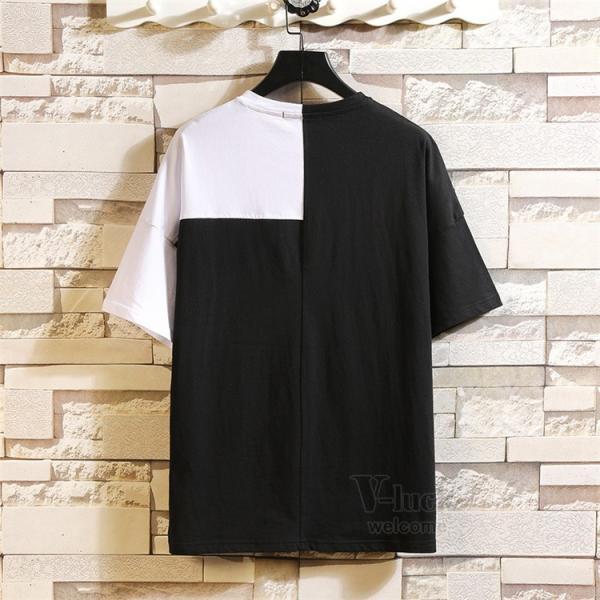 Tシャツ メンズ 半袖 トップス 切り替え カットソー ティーシャツ 半袖Tシャツ カジュアル おしゃれ 夏新作|otasukemann|06