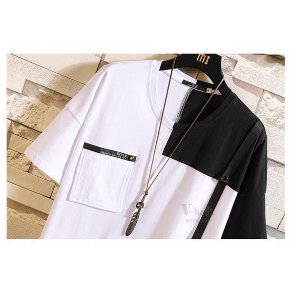 Tシャツ メンズ 半袖 トップス 切り替え カットソー ティーシャツ 半袖Tシャツ カジュアル おしゃれ 夏新作|otasukemann|08