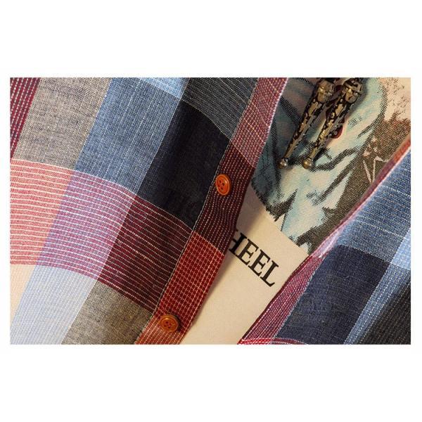 カジュアルシャツ メンズ チェックシャツ 長袖シャツ ビジネス 通勤 スリム メンズファッション 開襟 春秋 otasukemann 10