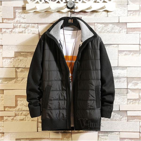 中綿ジャケット メンズ ジャケット アウター ダウン風 ブルゾン 切り替え 立ち襟 裏起毛 秋冬 送料無料|otasukemann|11