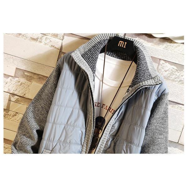 中綿ジャケット メンズ ジャケット アウター ダウン風 ブルゾン 切り替え 立ち襟 裏起毛 秋冬 送料無料|otasukemann|13