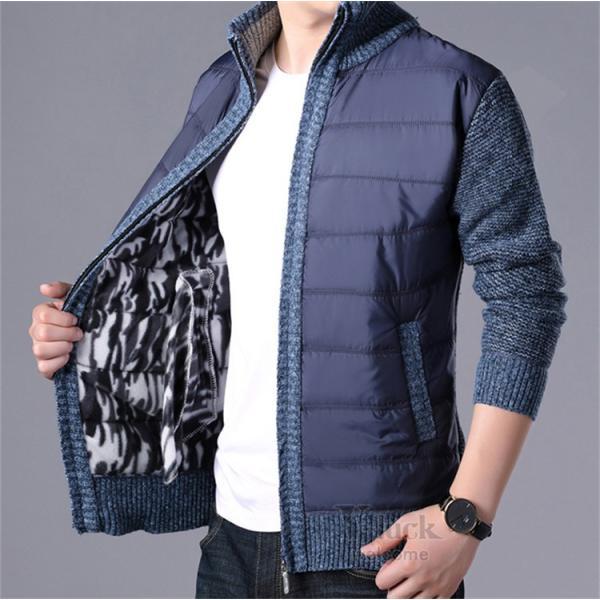 中綿ジャケット メンズ ジャケット アウター ダウン風 ブルゾン 切り替え 立ち襟 裏起毛 秋冬 送料無料|otasukemann|05