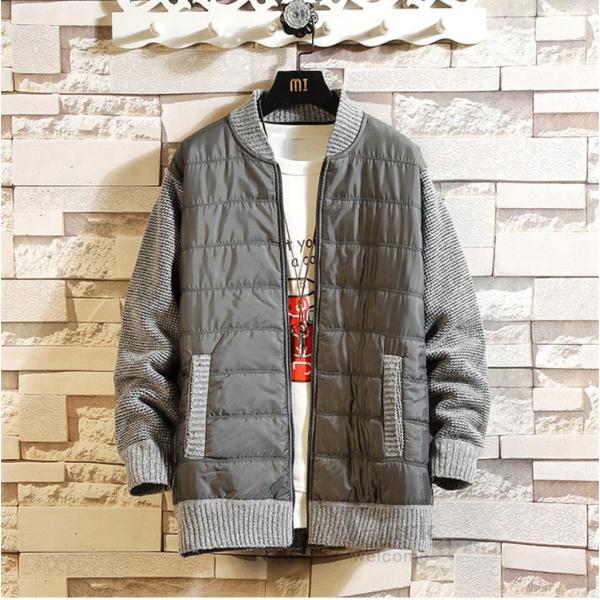 ジャケット メンズ 中綿ジャケット ニットセーター ダウン風 立ち襟 ブルゾン 裏起毛 アウトドア 秋冬 防寒着 otasukemann 12
