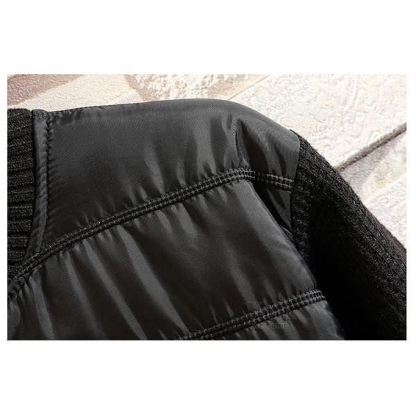 ジャケット メンズ 中綿ジャケット ニットセーター ダウン風 立ち襟 ブルゾン 裏起毛 アウトドア 秋冬 防寒着 otasukemann 16