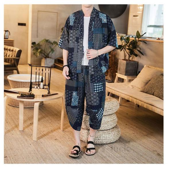セットアップ メンズ 夏 カジュアル 上下セット 羽織り 柄物 サルエルパンツ 大きいサイズ ワイド 夏 otasukemann 11
