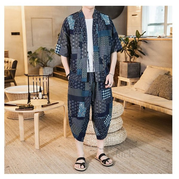 セットアップ メンズ 夏 カジュアル 上下セット 羽織り 柄物 サルエルパンツ 大きいサイズ ワイド 夏 otasukemann 12