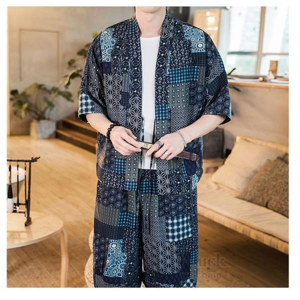 セットアップ メンズ 夏 カジュアル 上下セット 羽織り 柄物 サルエルパンツ 大きいサイズ ワイド 夏 otasukemann 13