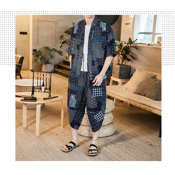 セットアップ メンズ 夏 カジュアル 上下セット 羽織り 柄物 サルエルパンツ 大きいサイズ ワイド 夏 otasukemann 14