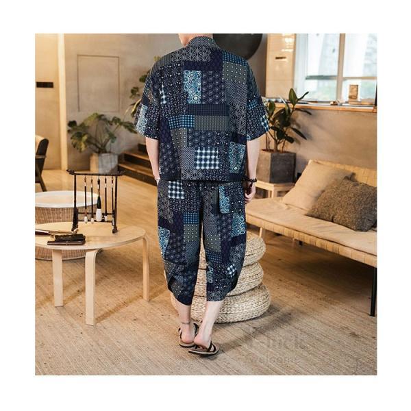 セットアップ メンズ 夏 カジュアル 上下セット 羽織り 柄物 サルエルパンツ 大きいサイズ ワイド 夏 otasukemann 15