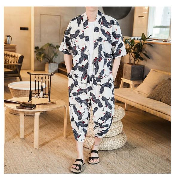 セットアップ メンズ 夏 カジュアル 上下セット 羽織り 柄物 サルエルパンツ 大きいサイズ ワイド 夏 otasukemann 16