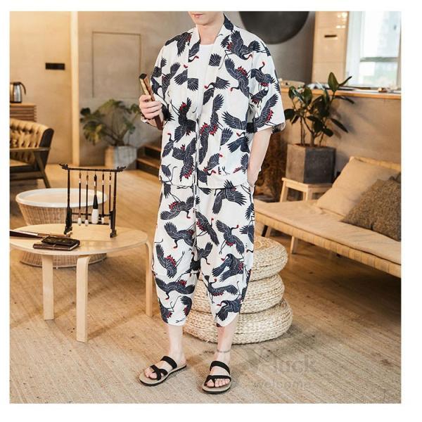 セットアップ メンズ 夏 カジュアル 上下セット 羽織り 柄物 サルエルパンツ 大きいサイズ ワイド 夏 otasukemann 17