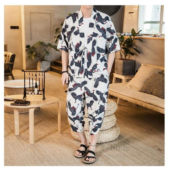 セットアップ メンズ 夏 カジュアル 上下セット 羽織り 柄物 サルエルパンツ 大きいサイズ ワイド 夏 otasukemann 18