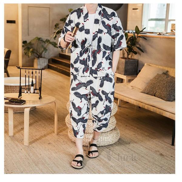 セットアップ メンズ 夏 カジュアル 上下セット 羽織り 柄物 サルエルパンツ 大きいサイズ ワイド 夏 otasukemann 19