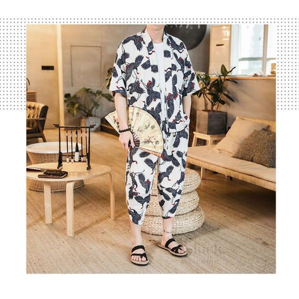 セットアップ メンズ 夏 カジュアル 上下セット 羽織り 柄物 サルエルパンツ 大きいサイズ ワイド 夏 otasukemann 20