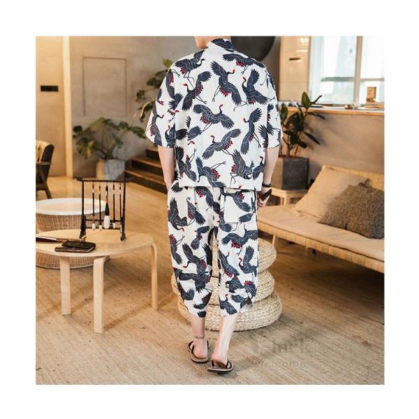 セットアップ メンズ 夏 カジュアル 上下セット 羽織り 柄物 サルエルパンツ 大きいサイズ ワイド 夏 otasukemann 21