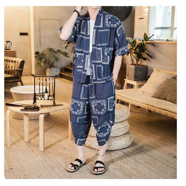 セットアップ メンズ 夏 カジュアル 上下セット 羽織り 柄物 サルエルパンツ 大きいサイズ ワイド 夏 otasukemann 05