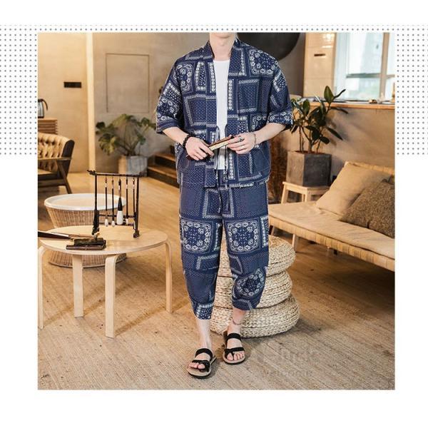 セットアップ メンズ 夏 カジュアル 上下セット 羽織り 柄物 サルエルパンツ 大きいサイズ ワイド 夏 otasukemann 06