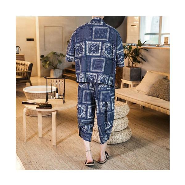 セットアップ メンズ 夏 カジュアル 上下セット 羽織り 柄物 サルエルパンツ 大きいサイズ ワイド 夏 otasukemann 07