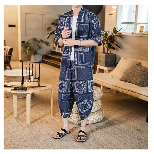 セットアップ メンズ 夏 カジュアル 上下セット 羽織り 柄物 サルエルパンツ 大きいサイズ ワイド 夏 otasukemann 08