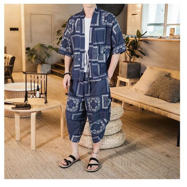 セットアップ メンズ 夏 カジュアル 上下セット 羽織り 柄物 サルエルパンツ 大きいサイズ ワイド 夏 otasukemann 09