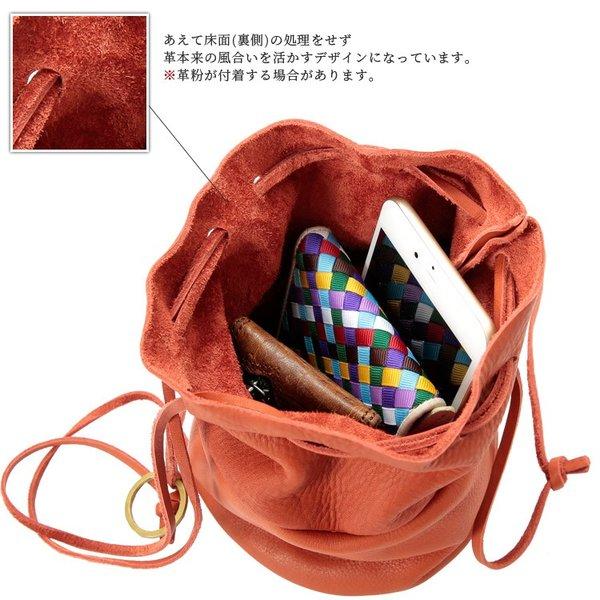 巾着ショルダーバッグ ミニショルダー シュリンクレザー 本革 レディース メンズ 日本製 オシャレ 男性 女性 男女兼用 Otias オティアス|otias|08