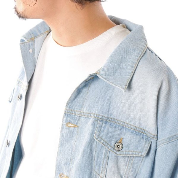 ビッグGジャン メンズ ビッグシルエット オーバーサイズ ブリーチ トラッカージャケット デニムジャケット ジージャン 韓国系ファッション ユニセックス ペア|otokazi|16