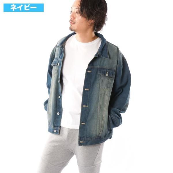 ビッグGジャン メンズ ビッグシルエット オーバーサイズ ブリーチ トラッカージャケット デニムジャケット ジージャン 韓国系ファッション ユニセックス ペア|otokazi|04