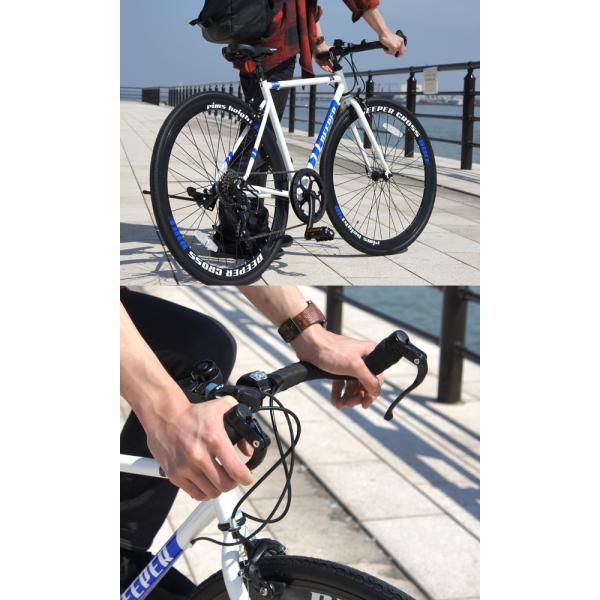 【特典付き】 クロスバイク 700c 自転車 初心者 シマノ製7段変速 ブルホーンハンドル 前輪クイックレリーズ DEEPER DE-5048|otoko-style|19