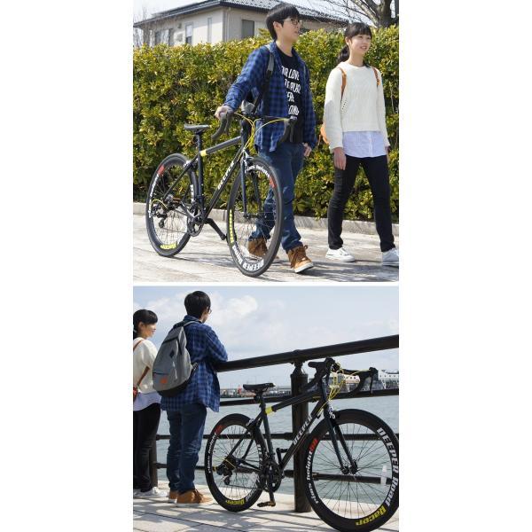 ロードバイク 初心者 自転車 700C 軽量 シマノ14段ギア アルミフレーム  通勤 通学 DEEPER(ディーパー) DE-70シリーズ ライト付き 480/530mm|otoko-style|12