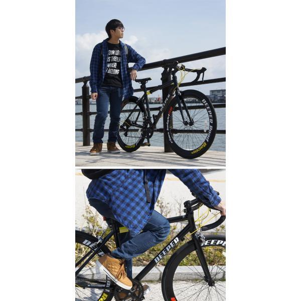 ロードバイク 初心者 自転車 700C 軽量 シマノ14段ギア アルミフレーム  通勤 通学 DEEPER(ディーパー) DE-70シリーズ ライト付き 480/530mm|otoko-style|10
