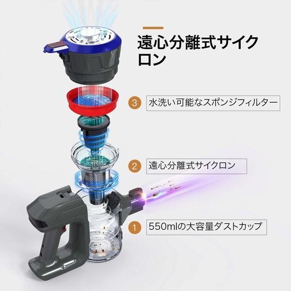 【ポイントアップ 5のつく日】コードレス掃除機 サイクロン 掃除機 ハンディクリーナー 充電式 スティック型 2in1 軽量 1年保証 Dibea D18|otoko-style|05