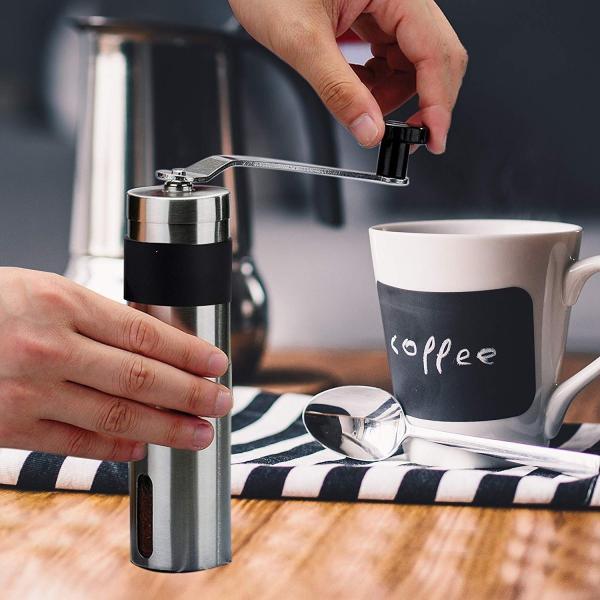 コーヒーミル 滑らない 手挽きコーヒーミル 滑り止め付き セラミックカッター 手動ステンレスミル お掃除ブラシ付き|otokurasi|06