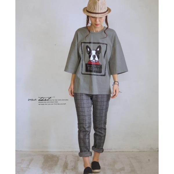 OTONA 40代 50代 60代 フレブルとお散歩Tシャツ カーキ|otona-luxe|12