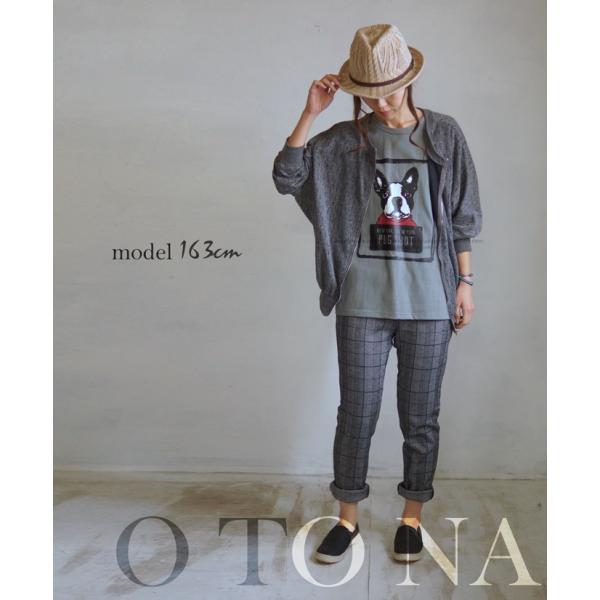 OTONA 40代 50代 60代 フレブルとお散歩Tシャツ カーキ|otona-luxe|13