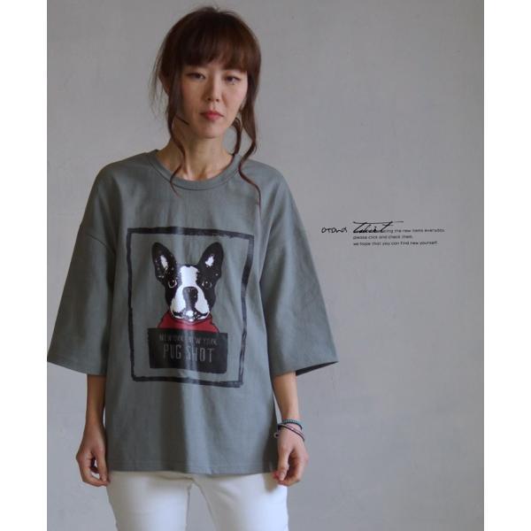 OTONA 40代 50代 60代 フレブルとお散歩Tシャツ カーキ|otona-luxe|15