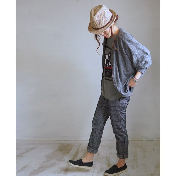 OTONA 40代 50代 60代 フレブルとお散歩Tシャツ カーキ|otona-luxe|04