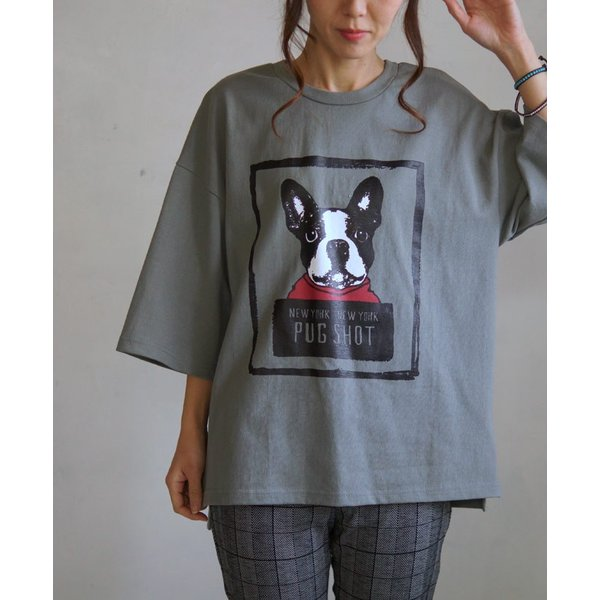 OTONA 40代 50代 60代 フレブルとお散歩Tシャツ カーキ|otona-luxe|07