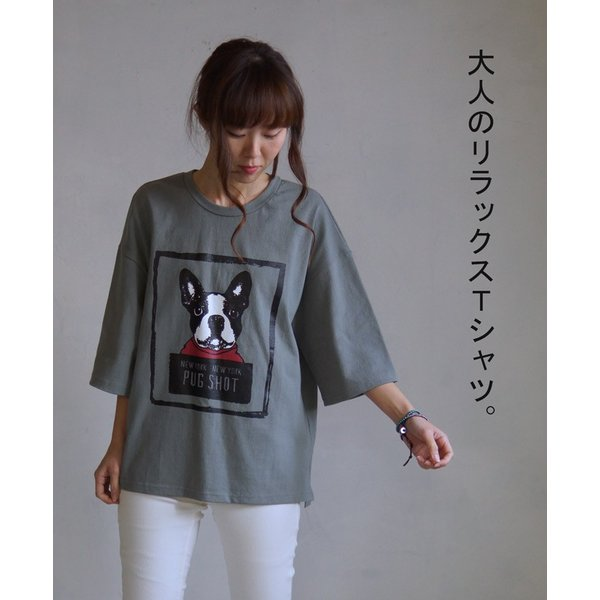 OTONA 40代 50代 60代 フレブルとお散歩Tシャツ カーキ|otona-luxe|08