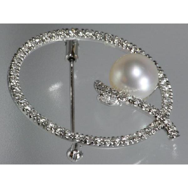 パール【OTOWA PEARL】 ブローチ 8.9mm 白蝶真珠 ダイヤ入 リング K18WG