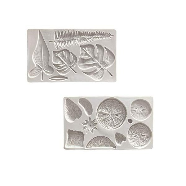 Rolin Roly フルーツ形 レモン形 葉形 シリコン型 ベーキング フォンダン 石鹸 石膏 粘土 キャンドル 型 抜き型 シリコンモールド 2セ