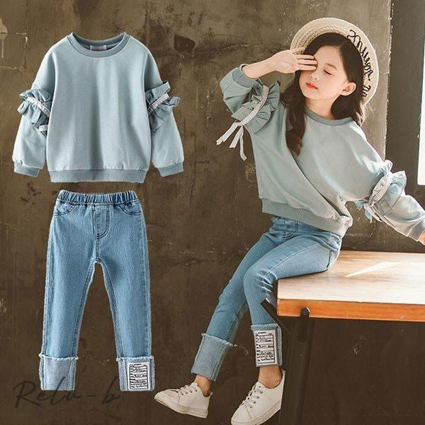 子供服 セットアップ 女の子 長袖 春秋 秋着 上下セット 韓国子供服 キッズ ジュニア Tシャツ デニムパンツ 長ズボン 可愛い おしゃれ 小学生 通学着 新品|otto-shop