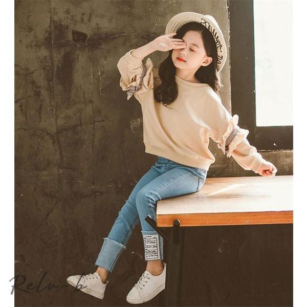 子供服 セットアップ 女の子 長袖 春秋 秋着 上下セット 韓国子供服 キッズ ジュニア Tシャツ デニムパンツ 長ズボン 可愛い おしゃれ 小学生 通学着 新品|otto-shop|17