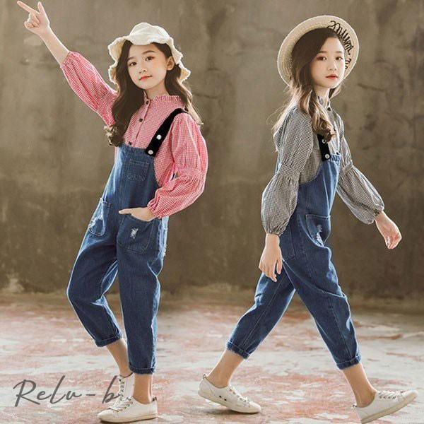 子供服 セットアップ キッズ おしゃれ 女の子 長袖 春秋 秋着 上下セット 韓国子供服 ジュニア シャツ ストライプ デニムパンツ サロペット 可愛い 通学着 新品|otto-shop