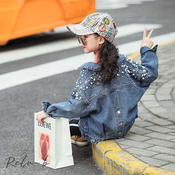 子供服 女の子 デニムジャケット アウター 長袖 春秋 春コート ショート ブルゾンジャンパー  韓国子供服 キッズ ジュニア 防風 お出かけ おしゃれ 可愛い 新品 otto-shop