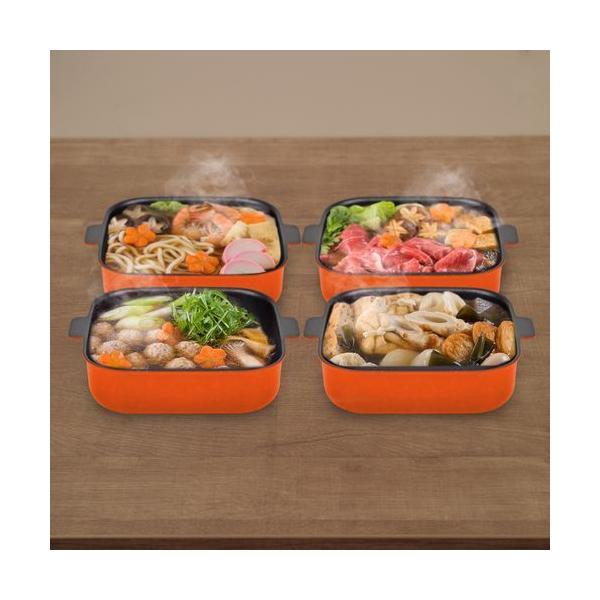 和平フレイズ セット販売 プチなべ ガス・IH対応 しかくい卓上鍋/18cm オレンジ DEC-008 4個セット オレンジ/しかくい卓上鍋