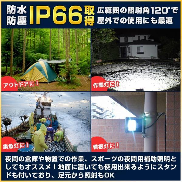 10W 薄型LED投光器 防水仕様 IP66 投光機 バーベキュー 広角120度 100v プラグ付 昼白色 6000K|outdoorgear|03
